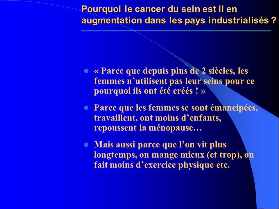 Pourquoi le cancer du sein est il en augmentation dans les pays industrialisés ? « Parce que depuis plus de 2 siècles, les femmes nutilisent pas leur