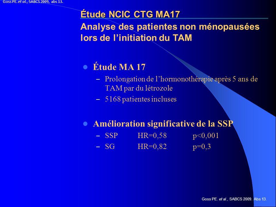 Étude NCIC CTG MA17 Étude MA 17 – Prolongation de lhormonothérapie après 5 ans de TAM par du létrozole – 5168 patientes incluses Amélioration signific