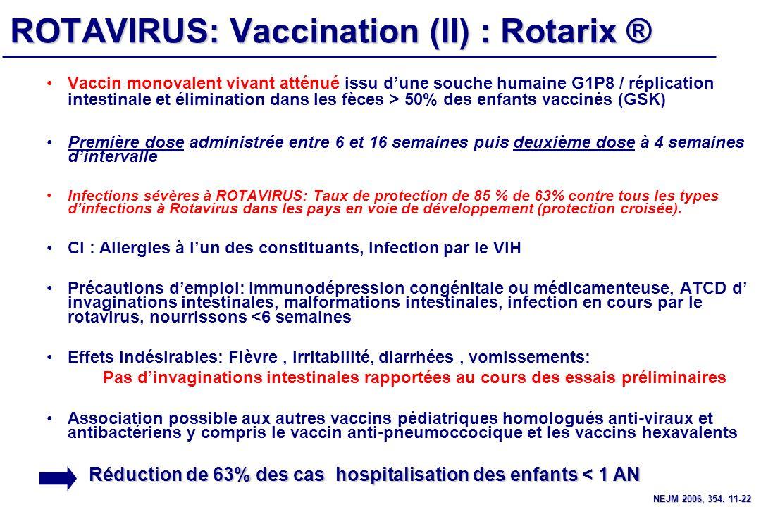 ROTAVIRUS: Vaccination (II) : Rotarix ® Vaccin monovalent vivant atténué issu dune souche humaine G1P8 / réplication intestinale et élimination dans l