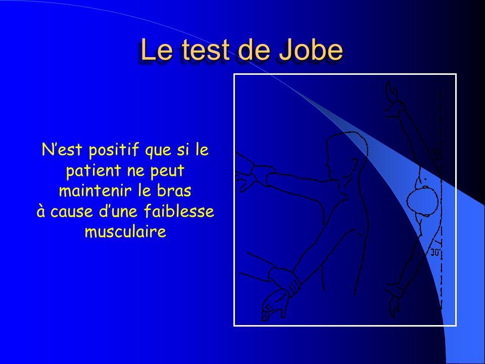 Nest positif que si le patient ne peut maintenir le bras à cause dune faiblesse musculaire Le test de Jobe