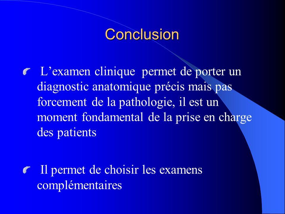 Conclusion Lexamen clinique permet de porter un diagnostic anatomique précis mais pas forcement de la pathologie, il est un moment fondamental de la p
