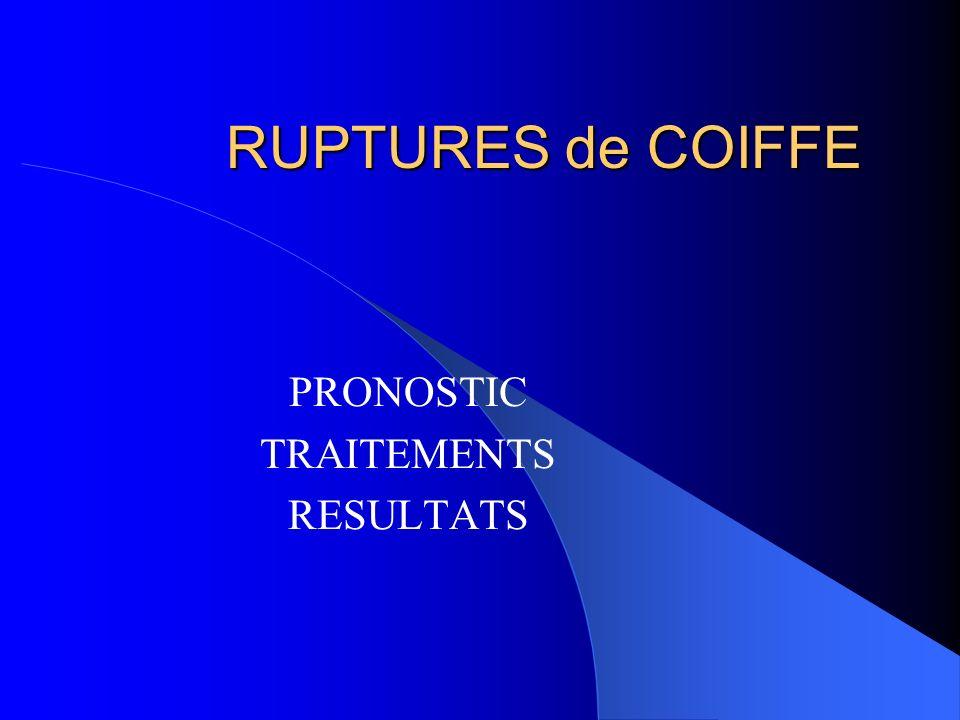 RUPTURES de COIFFE PRONOSTIC TRAITEMENTS RESULTATS