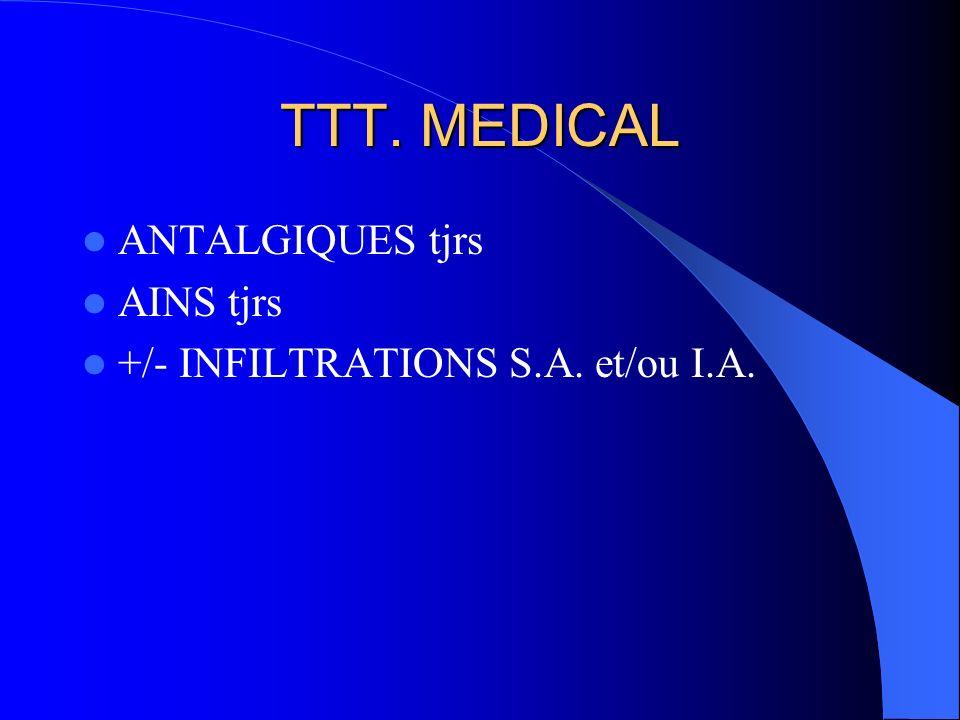 TTT. MEDICAL ANTALGIQUES tjrs AINS tjrs +/- INFILTRATIONS S.A. et/ou I.A.