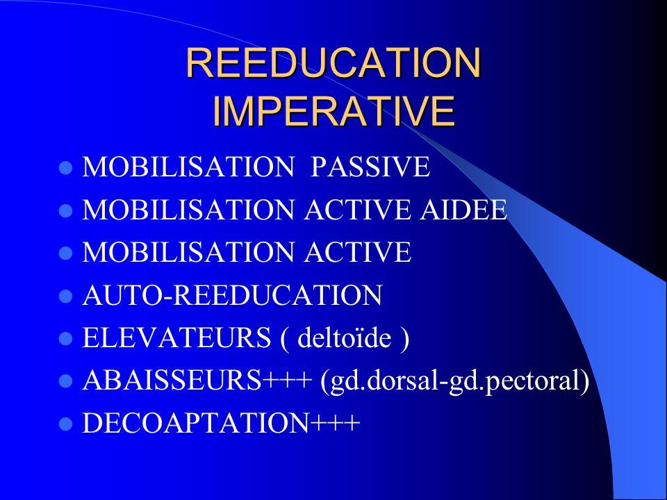 REEDUCATION IMPERATIVE MOBILISATION PASSIVE MOBILISATION ACTIVE AIDEE MOBILISATION ACTIVE AUTO-REEDUCATION ELEVATEURS ( deltoïde ) ABAISSEURS+++ (gd.d