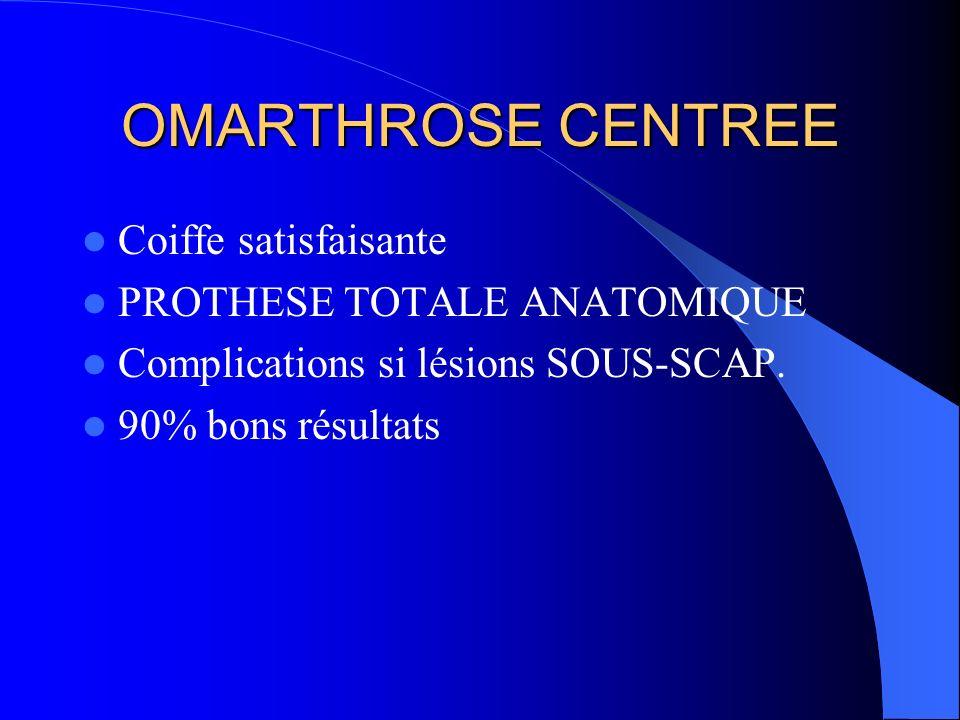 OMARTHROSE CENTREE Coiffe satisfaisante PROTHESE TOTALE ANATOMIQUE Complications si lésions SOUS-SCAP. 90% bons résultats