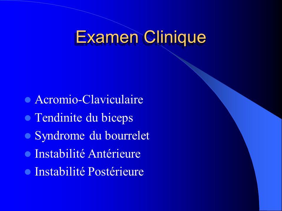 Examen Clinique Acromio-Claviculaire Tendinite du biceps Syndrome du bourrelet Instabilité Antérieure Instabilité Postérieure