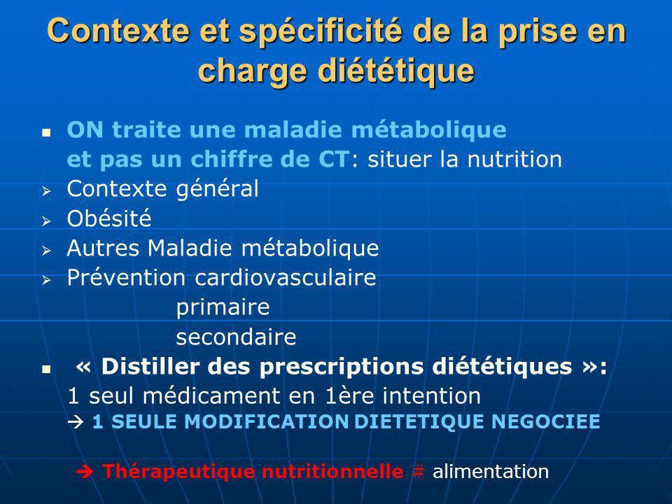 Contexte et spécificité de la prise en charge diététique ON traite une maladie métabolique et pas un chiffre de CT: situer la nutrition Contexte génér