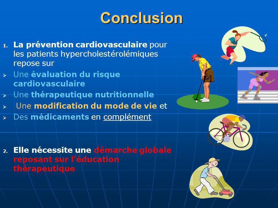 Conclusion 1. 1. La prévention cardiovasculaire pour les patients hypercholestérolémiques repose sur Une évaluation du risque cardiovasculaire Une thé