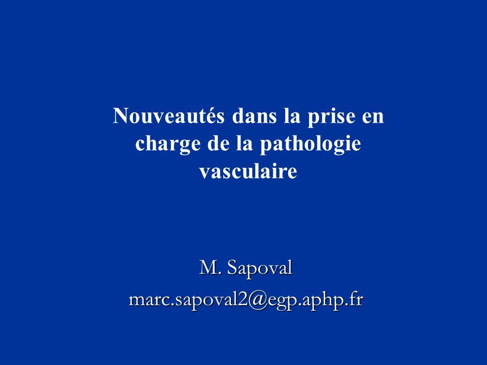 M. Sapoval marc.sapoval2@egp.aphp.fr Nouveautés dans la prise en charge de la pathologie vasculaire