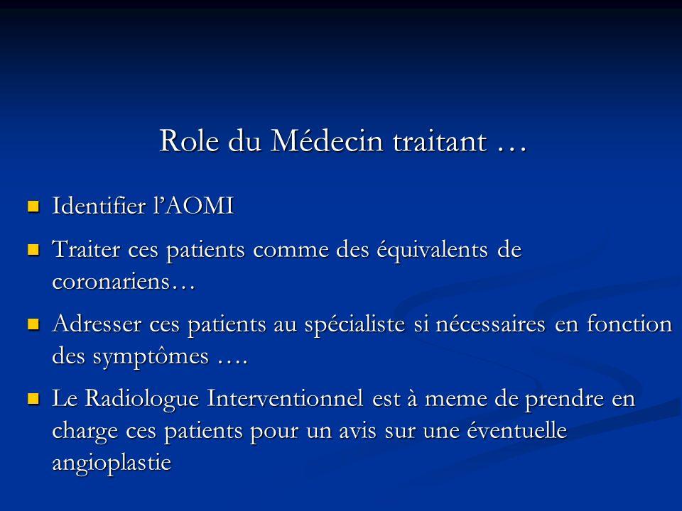 Role du Médecin traitant … Identifier lAOMI Identifier lAOMI Traiter ces patients comme des équivalents de coronariens… Traiter ces patients comme des