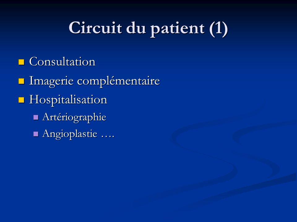 Circuit du patient (1) Consultation Consultation Imagerie complémentaire Imagerie complémentaire Hospitalisation Hospitalisation Artériographie Artéri