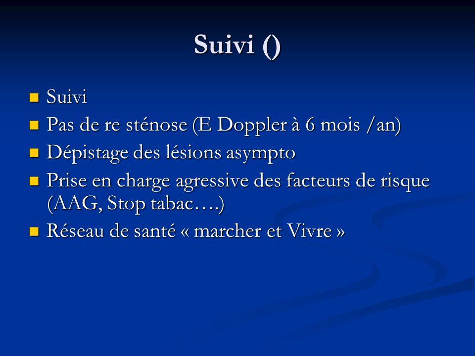 Suivi () Suivi Suivi Pas de re sténose (E Doppler à 6 mois /an) Pas de re sténose (E Doppler à 6 mois /an) Dépistage des lésions asympto Dépistage des