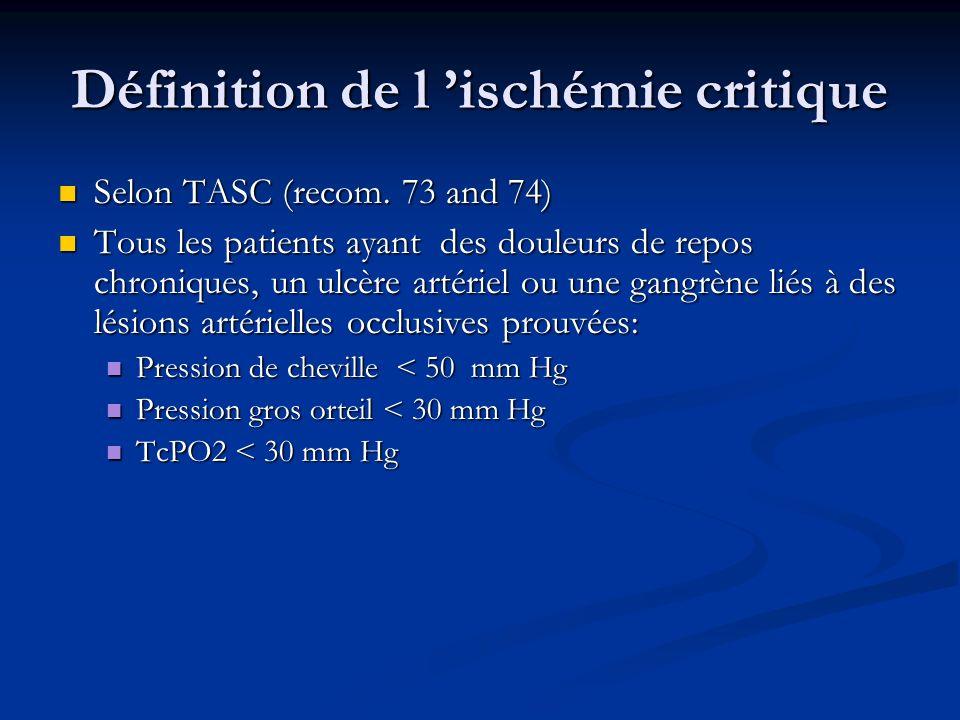 Définition de l ischémie critique Selon TASC (recom. 73 and 74) Selon TASC (recom. 73 and 74) Tous les patients ayant des douleurs de repos chroniques