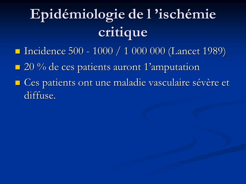 Epidémiologie de l ischémie critique Incidence 500 - 1000 / 1 000 000 (Lancet 1989) Incidence 500 - 1000 / 1 000 000 (Lancet 1989) 20 % de ces patient