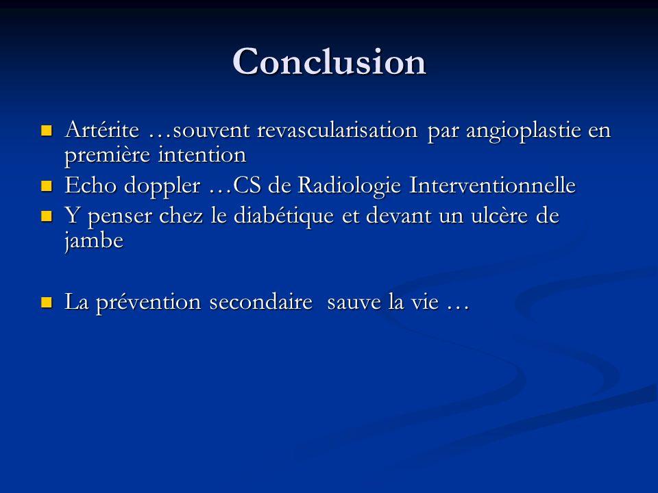 Conclusion Artérite …souvent revascularisation par angioplastie en première intention Artérite …souvent revascularisation par angioplastie en première