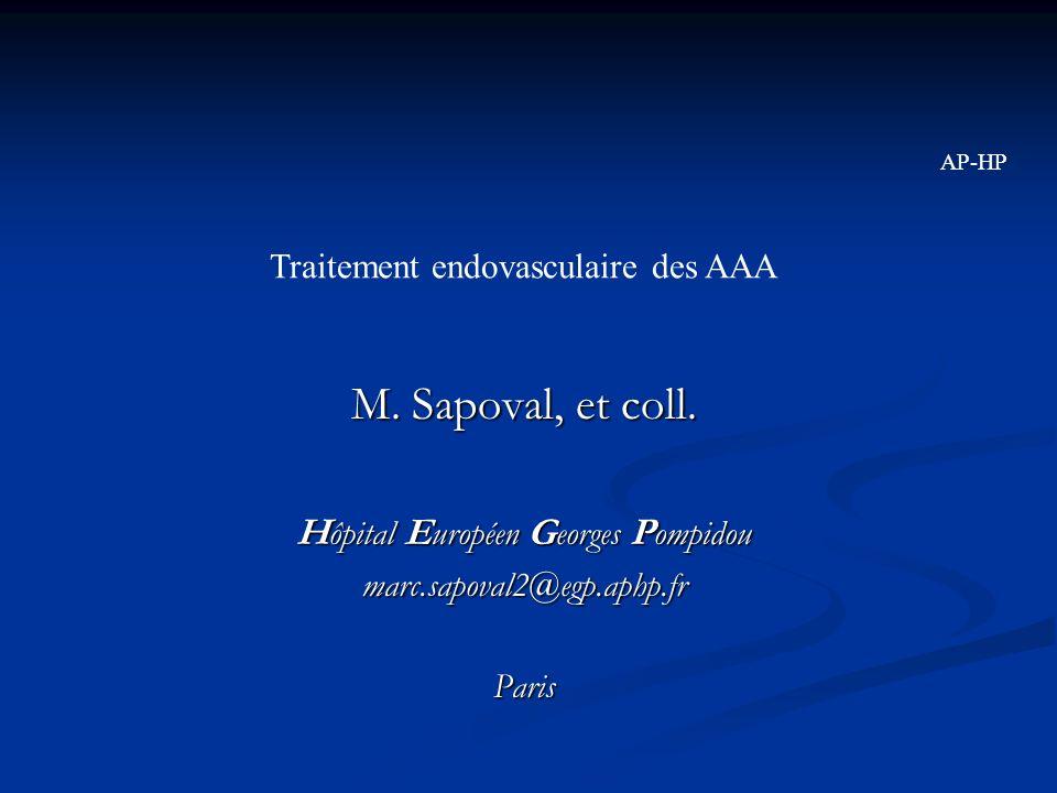 M. Sapoval, et coll. H ôpital E uropéen G eorges P ompidou marc.sapoval2@egp.aphp.frParis Traitement endovasculaire des AAA AP-HP