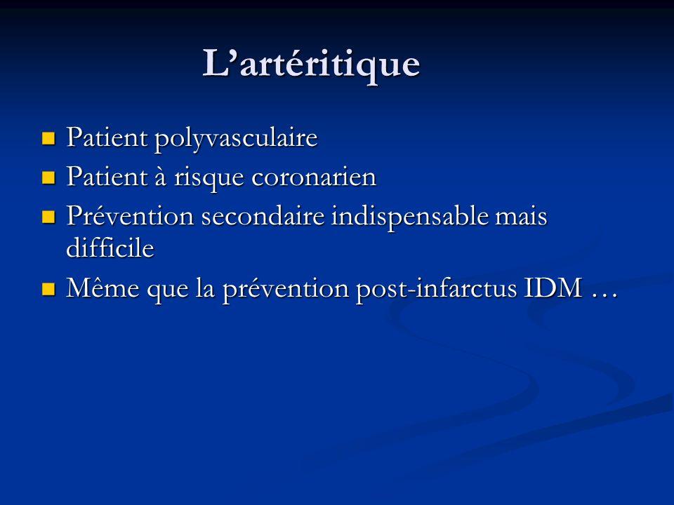 Lartéritique Patient polyvasculaire Patient polyvasculaire Patient à risque coronarien Patient à risque coronarien Prévention secondaire indispensable