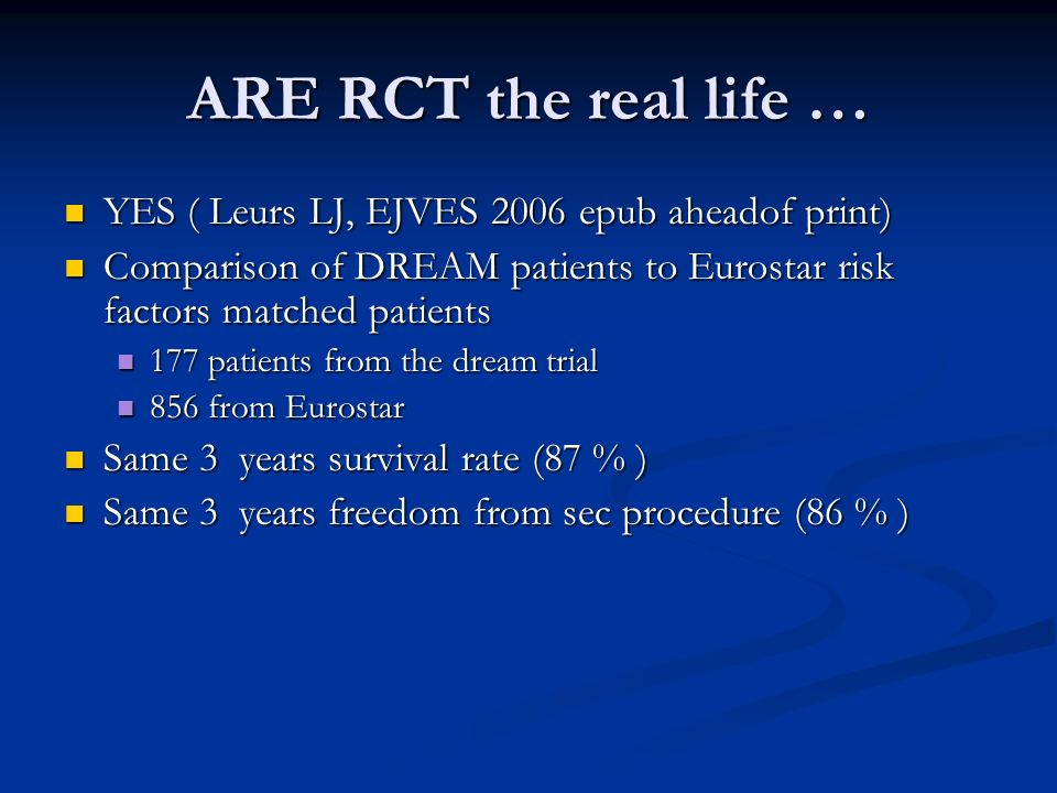 ARE RCT the real life … YES ( Leurs LJ, EJVES 2006 epub aheadof print) YES ( Leurs LJ, EJVES 2006 epub aheadof print) Comparison of DREAM patients to