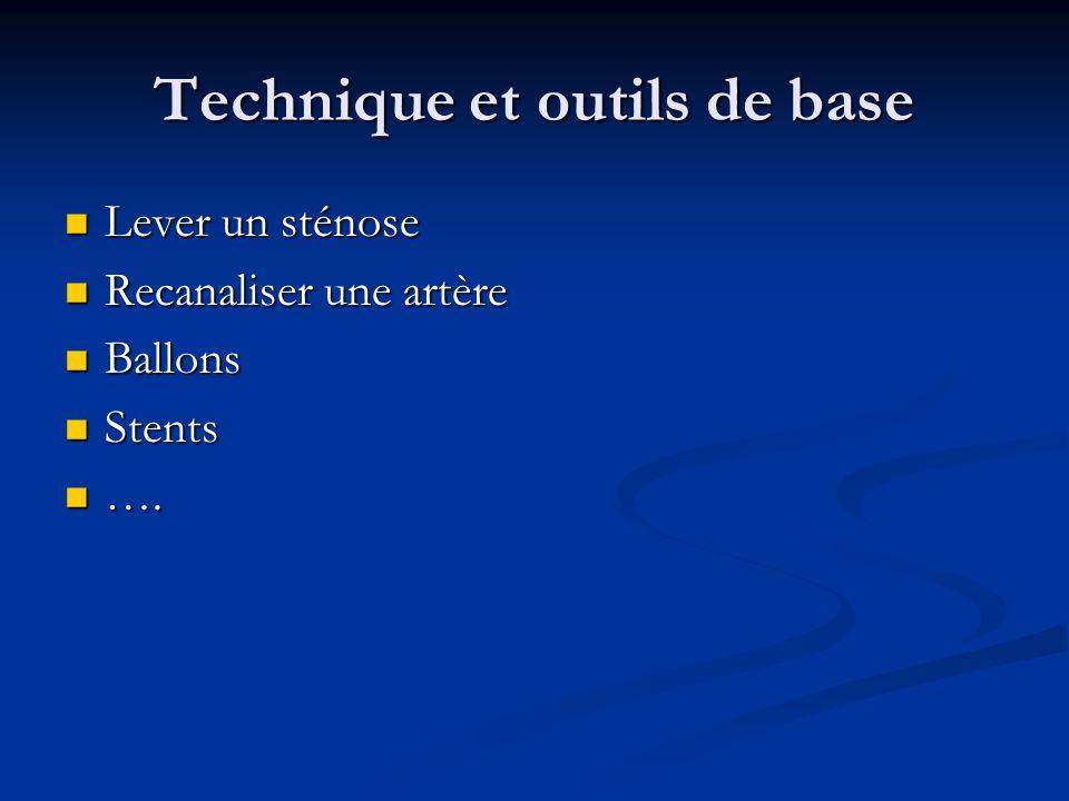 Technique et outils de base Lever un sténose Lever un sténose Recanaliser une artère Recanaliser une artère Ballons Ballons Stents Stents …. ….