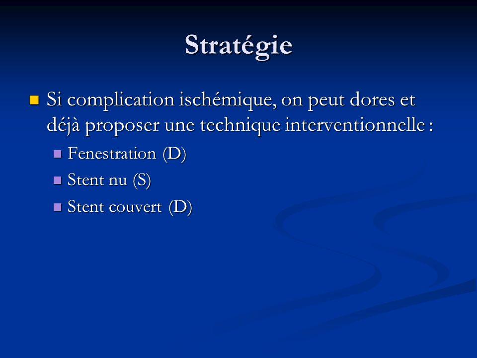 Stratégie Si complication ischémique, on peut dores et déjà proposer une technique interventionnelle : Si complication ischémique, on peut dores et dé