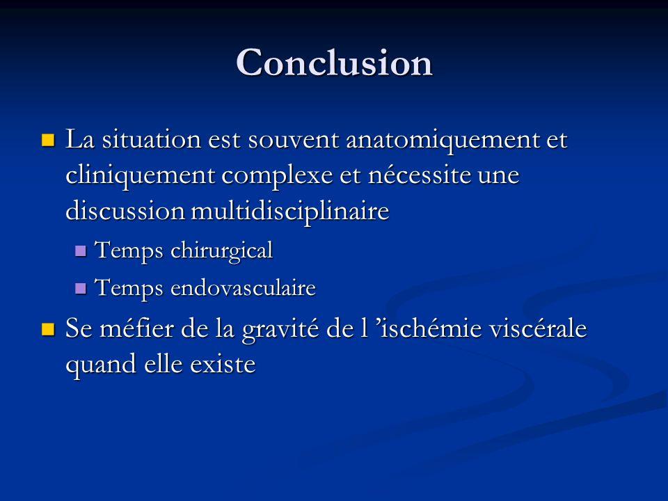 Conclusion La situation est souvent anatomiquement et cliniquement complexe et nécessite une discussion multidisciplinaire La situation est souvent an