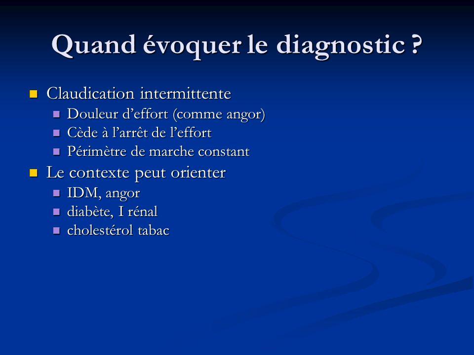 Quand évoquer le diagnostic ? Claudication intermittente Claudication intermittente Douleur deffort (comme angor) Douleur deffort (comme angor) Cède à