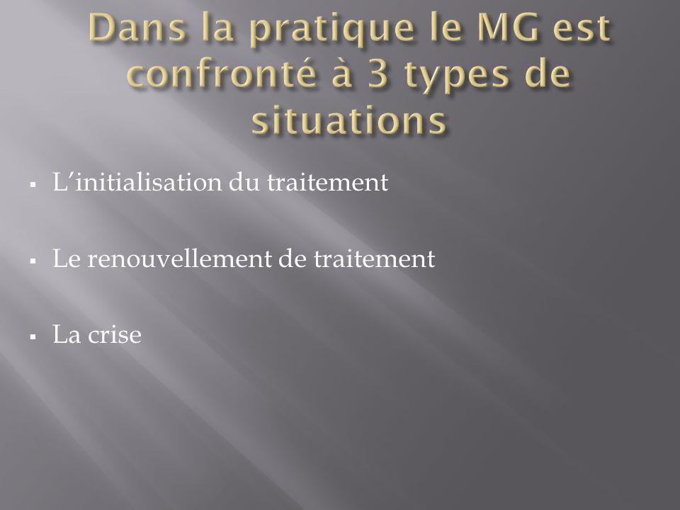 Linitialisation du traitement Le renouvellement de traitement La crise