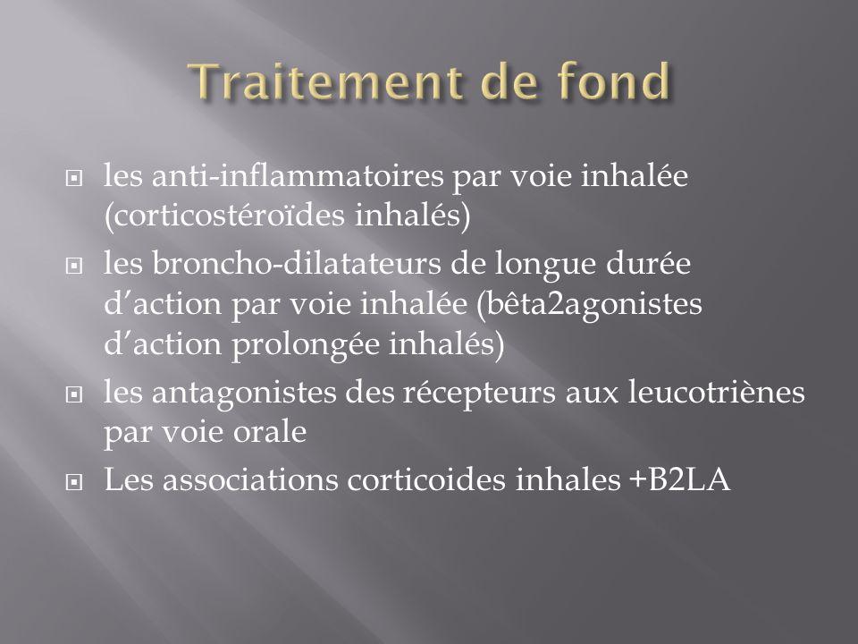 les anti-inflammatoires par voie inhalée (corticostéroïdes inhalés) les broncho-dilatateurs de longue durée daction par voie inhalée (bêta2agonistes daction prolongée inhalés) les antagonistes des récepteurs aux leucotriènes par voie orale Les associations corticoides inhales +B2LA