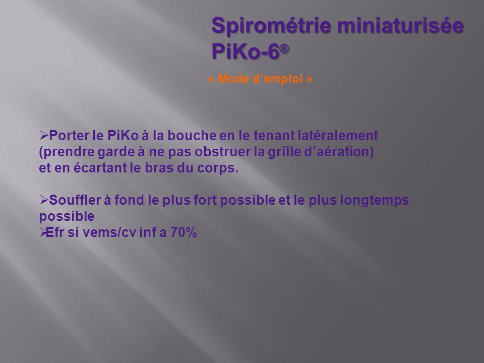 Spirométrie miniaturisée PiKo-6 ® Porter le PiKo à la bouche en le tenant latéralement (prendre garde à ne pas obstruer la grille daération) et en écartant le bras du corps.