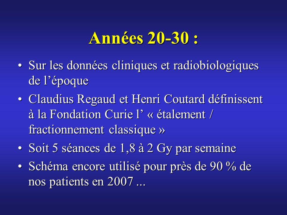 Années 20-30 : Sur les données cliniques et radiobiologiques de lépoqueSur les données cliniques et radiobiologiques de lépoque Claudius Regaud et Hen