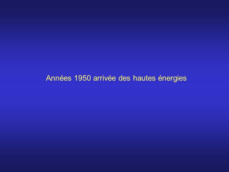 Années 1950 arrivée des hautes énergies