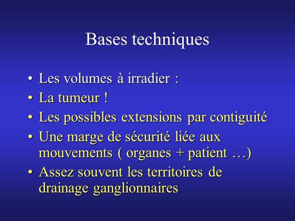 Bases techniques Les volumes à irradier :Les volumes à irradier : La tumeur !La tumeur ! Les possibles extensions par contiguitéLes possibles extensio