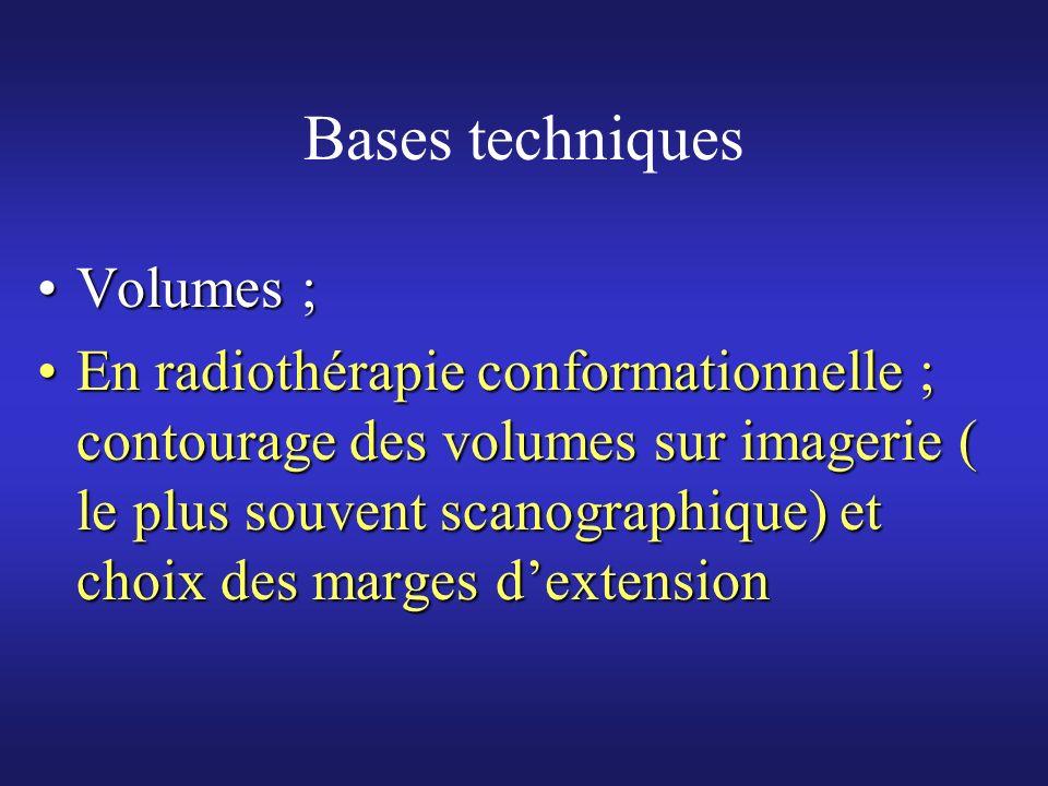 Bases techniques Volumes ;Volumes ; En radiothérapie conformationnelle ; contourage des volumes sur imagerie ( le plus souvent scanographique) et choi
