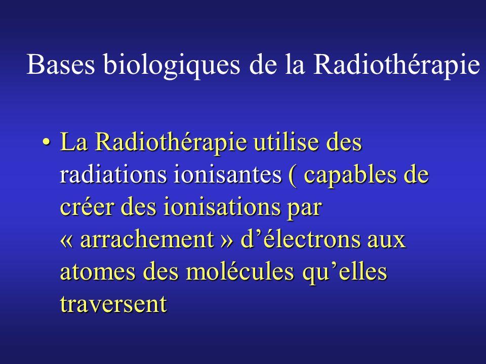 Bases biologiques de la Radiothérapie Particules utilisées en radiothérapie :Particules utilisées en radiothérapie : Essentiellement PHOTONS ( « grains » dénergie sans masse se déplacant à la vitesse de la lumière )Essentiellement PHOTONS ( « grains » dénergie sans masse se déplacant à la vitesse de la lumière ) Mais aussi ELECTRONSMais aussi ELECTRONS Beaucoup plus rarement ; protons, neutrons, ions lourds …Beaucoup plus rarement ; protons, neutrons, ions lourds …