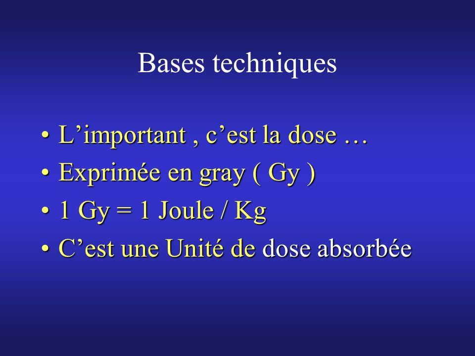 Bases techniques Limportant, cest la dose …Limportant, cest la dose … Exprimée en gray ( Gy )Exprimée en gray ( Gy ) 1 Gy = 1 Joule / Kg1 Gy = 1 Joule