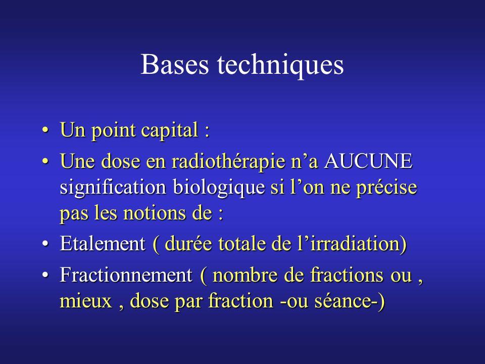 Bases techniques Un point capital :Un point capital : Une dose en radiothérapie na AUCUNE signification biologique si lon ne précise pas les notions d