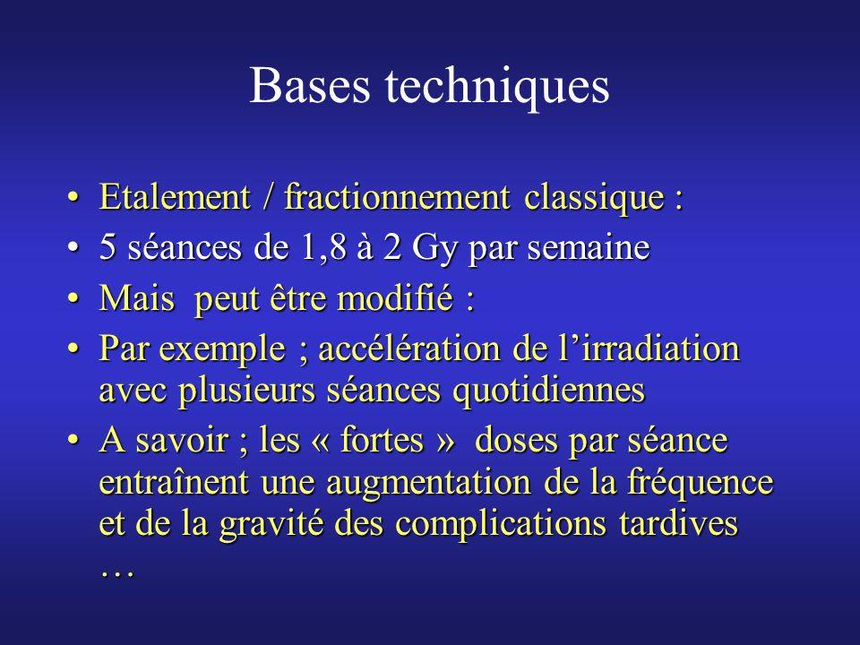 Bases techniques Etalement / fractionnement classique :Etalement / fractionnement classique : 5 séances de 1,8 à 2 Gy par semaine5 séances de 1,8 à 2