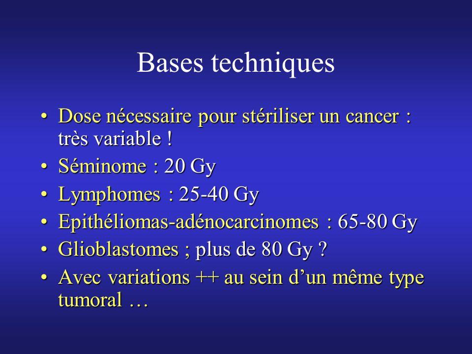 Bases techniques Dose nécessaire pour stériliser un cancer : très variable !Dose nécessaire pour stériliser un cancer : très variable ! Séminome : 20