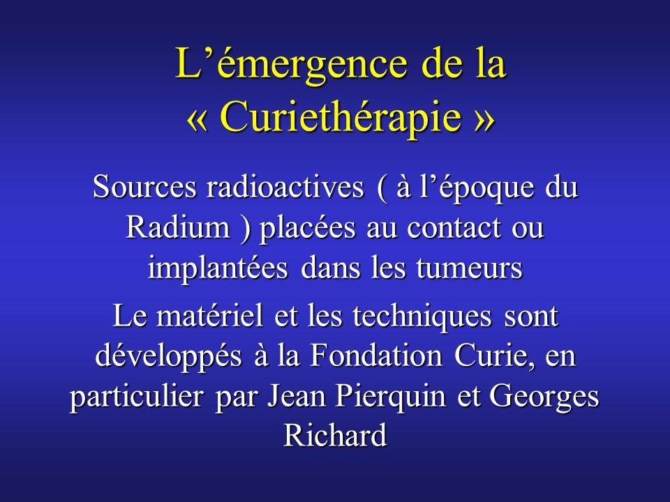 Lémergence de la « Curiethérapie » Sources radioactives ( à lépoque du Radium ) placées au contact ou implantées dans les tumeurs Le matériel et les t