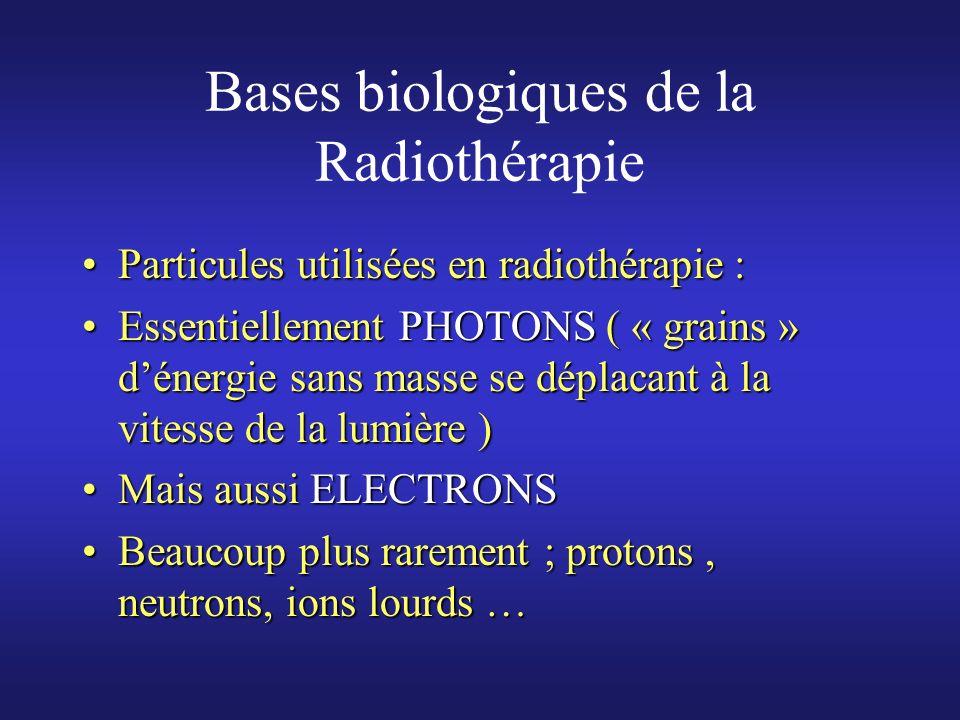 Bases biologiques de la Radiothérapie Mode daction de la radiothérapie ;Mode daction de la radiothérapie ; En première approximation ; une seule cible LADN des chromosomesEn première approximation ; une seule cible LADN des chromosomes Peut être lésé directementPeut être lésé directement Peut aussi être atteint par lésions indirectesPeut aussi être atteint par lésions indirectes ( par lintermédiaire des radicaux libres créés par lionisation des molécules d eau) ( par lintermédiaire des radicaux libres créés par lionisation des molécules d eau)