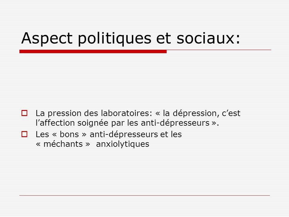 Aspect politiques et sociaux: La pression des laboratoires: « la dépression, cest laffection soignée par les anti-dépresseurs ».