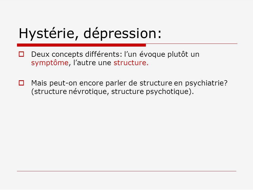 Hystérie, dépression: Deux concepts différents: lun évoque plutôt un symptôme, lautre une structure.