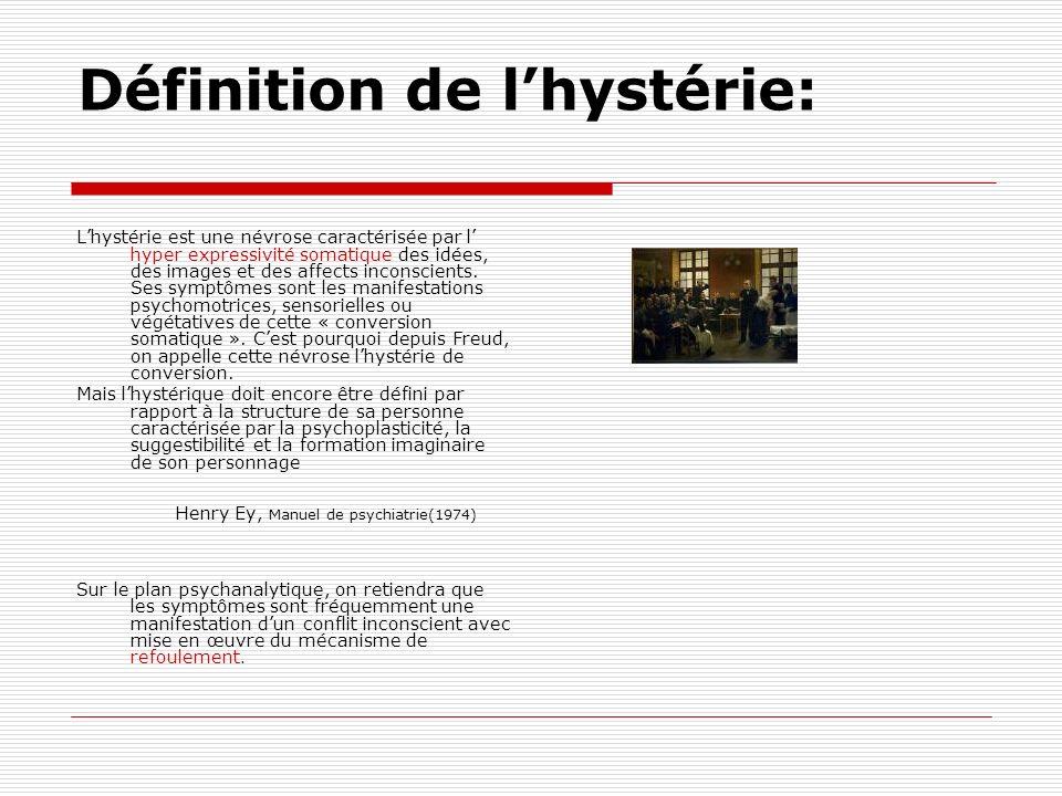 Définition de lhystérie: Lhystérie est une névrose caractérisée par l hyper expressivité somatique des idées, des images et des affects inconscients.