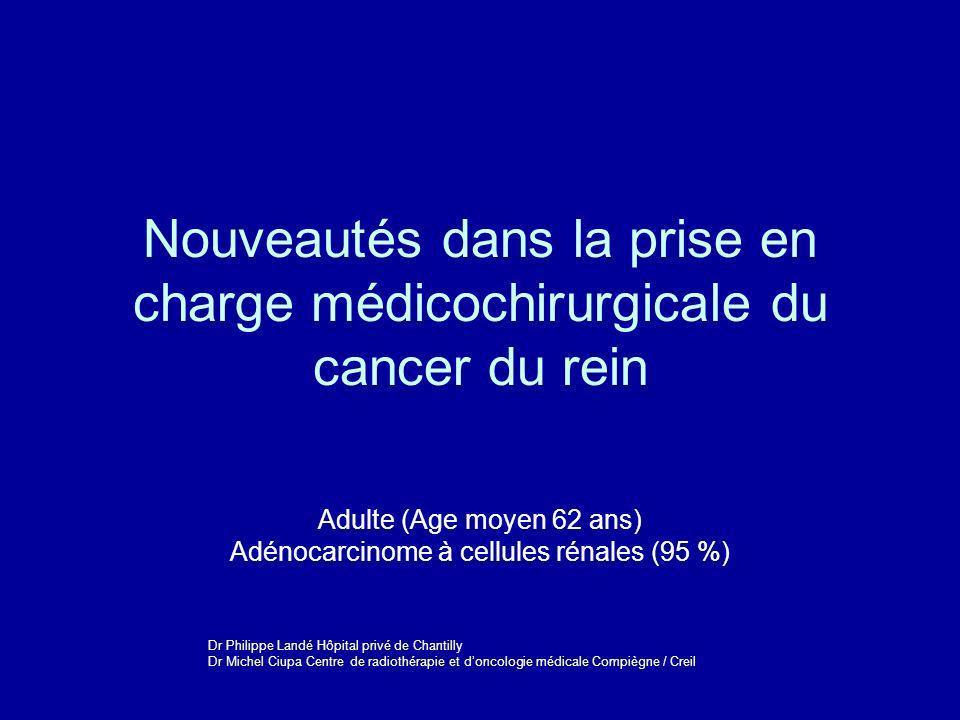 Nouveautés dans la prise en charge médicochirurgicale du cancer du rein Adulte (Age moyen 62 ans) Adénocarcinome à cellules rénales (95 %) Dr Philippe