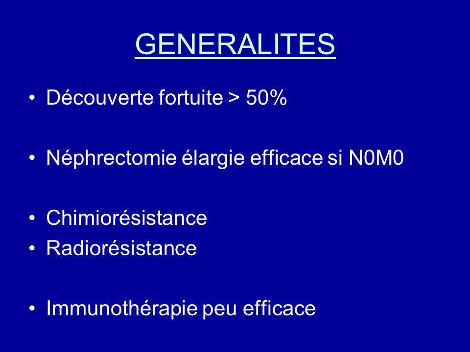 GENERALITES Découverte fortuite > 50% Néphrectomie élargie efficace si N0M0 Chimiorésistance Radiorésistance Immunothérapie peu efficace