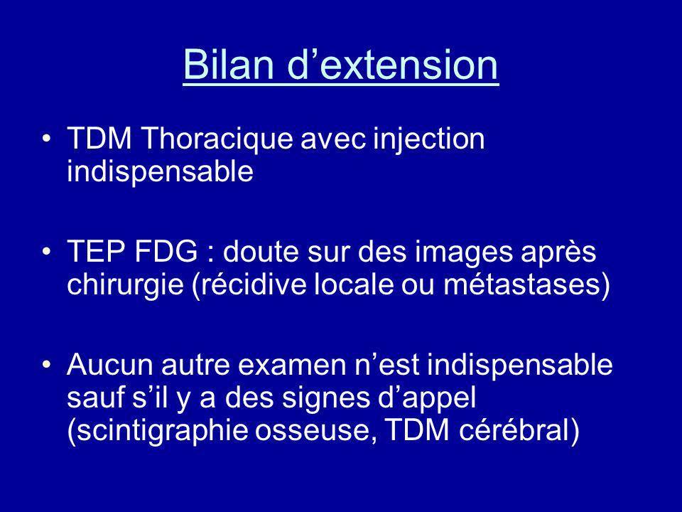 Bilan dextension TDM Thoracique avec injection indispensable TEP FDG : doute sur des images après chirurgie (récidive locale ou métastases) Aucun autr