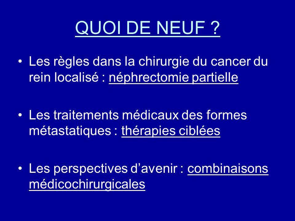 QUOI DE NEUF ? Les règles dans la chirurgie du cancer du rein localisé : néphrectomie partielle Les traitements médicaux des formes métastatiques : th