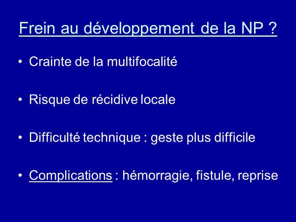 Frein au développement de la NP ? Crainte de la multifocalité Risque de récidive locale Difficulté technique : geste plus difficile Complications : hé