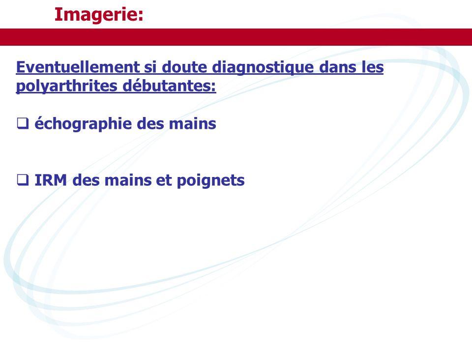Imagerie: Eventuellement si doute diagnostique dans les polyarthrites débutantes: échographie des mains IRM des mains et poignets