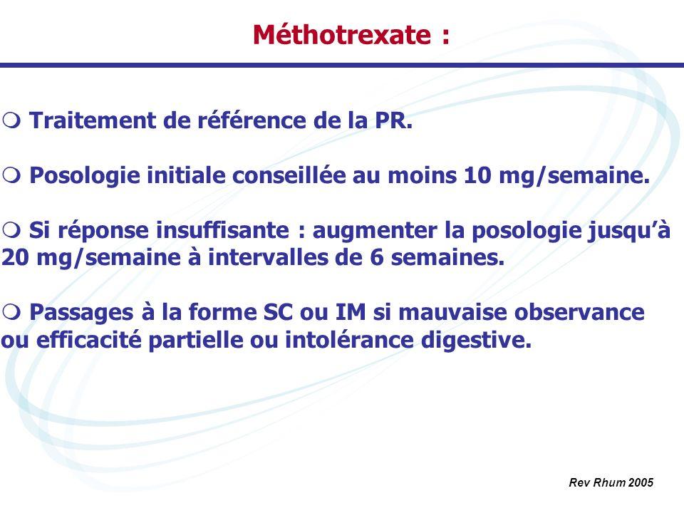 Méthotrexate : Traitement de référence de la PR. Posologie initiale conseillée au moins 10 mg/semaine. Si réponse insuffisante : augmenter la posologi